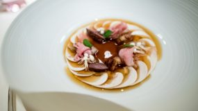 Dallmayr, Restaurant in Munich: thin slices of mushrooms, duck consommé and duck offal