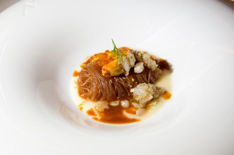 Imago Restaurant in Hassler Hotel Rome - Soy vermicelli, amberjack fish sauce, mussel, salmon egg, amberjack fish tartare, cauliflower cream