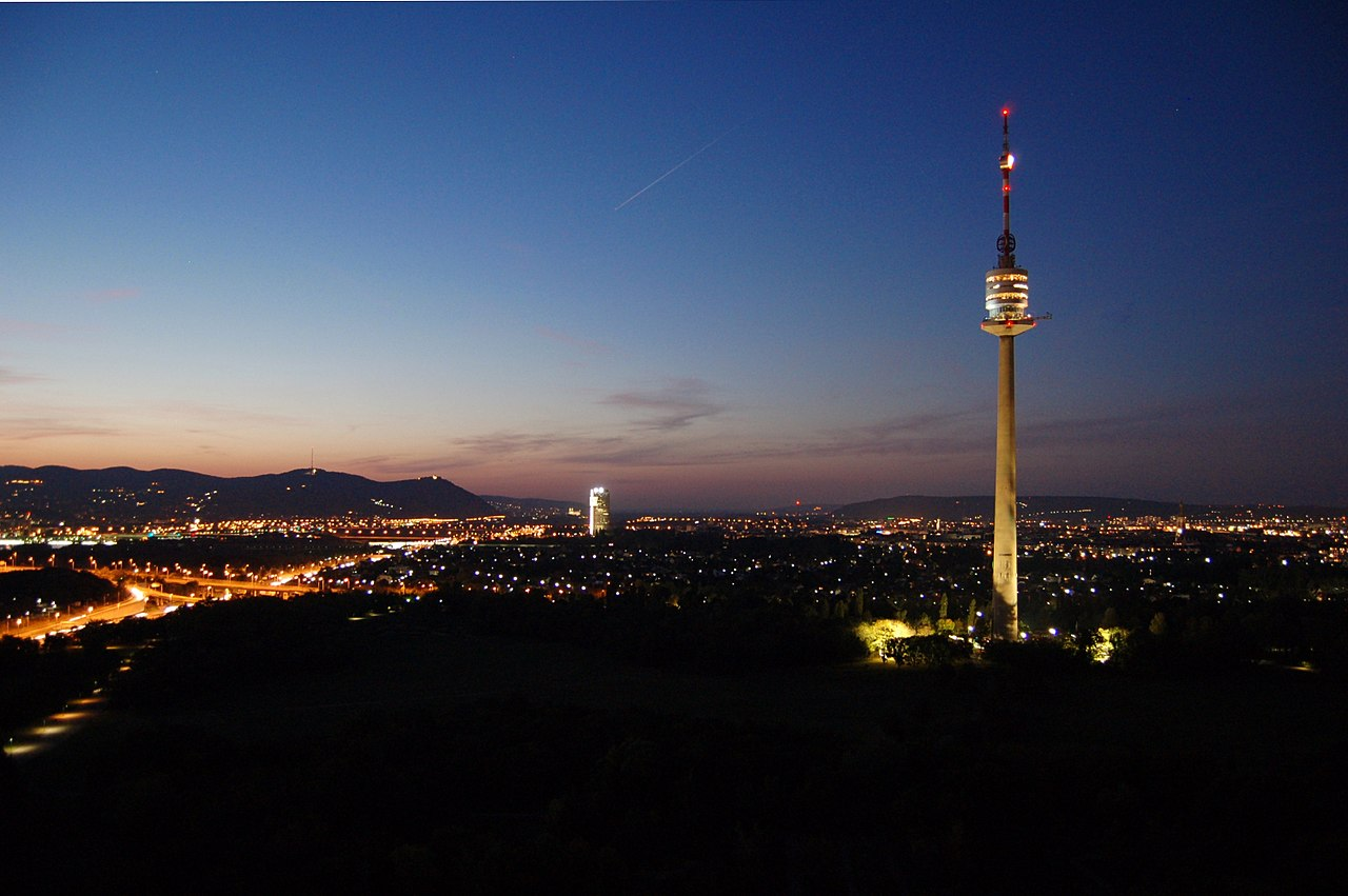 Vienna Donauturm night view - CC0 / Public Domain - Things to do in Vienna
