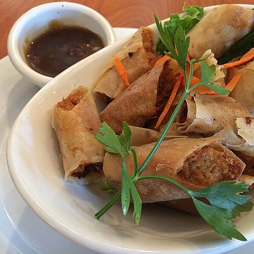 Andrew Zimmern Delicious Destinations Manila - Ground pork with diced vegetables wrapped with spring roll wrapper