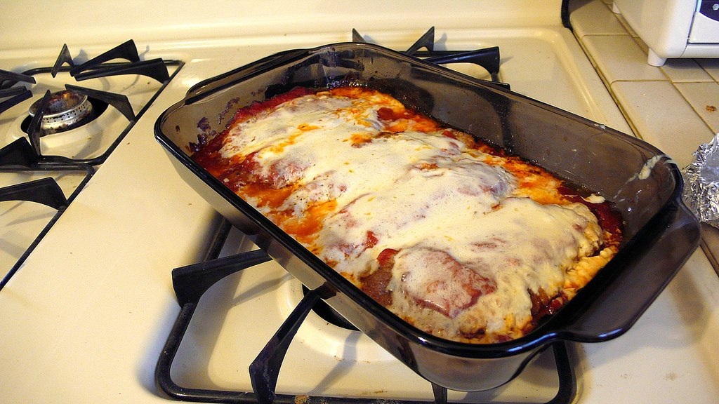 Delicious Destinations Las Vegas - breaded veal meat baked with marinara sauce and cheese