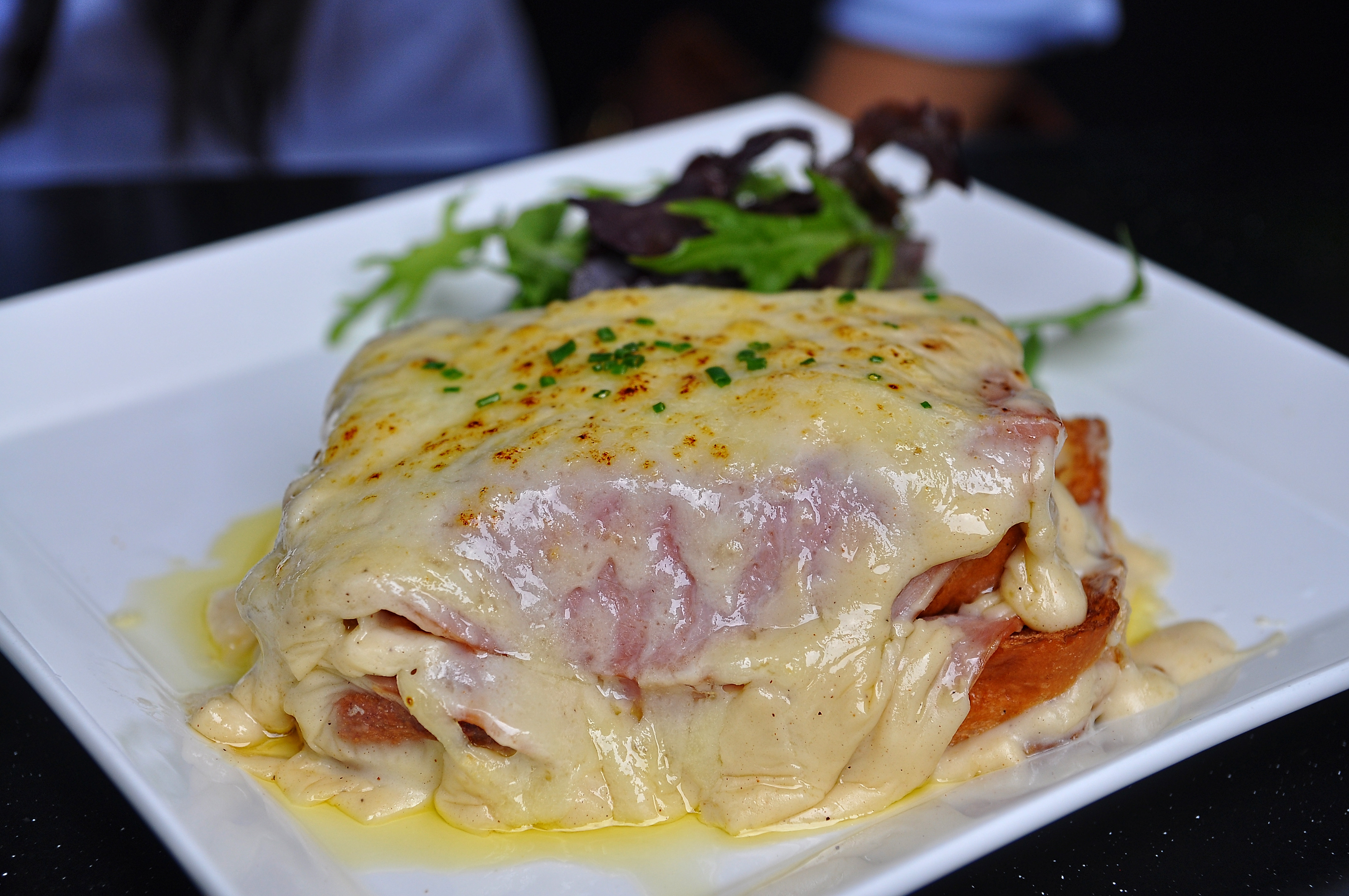 Delicious Destinations Paris - Bread-based with thin layer of ham and covered with melted cheese