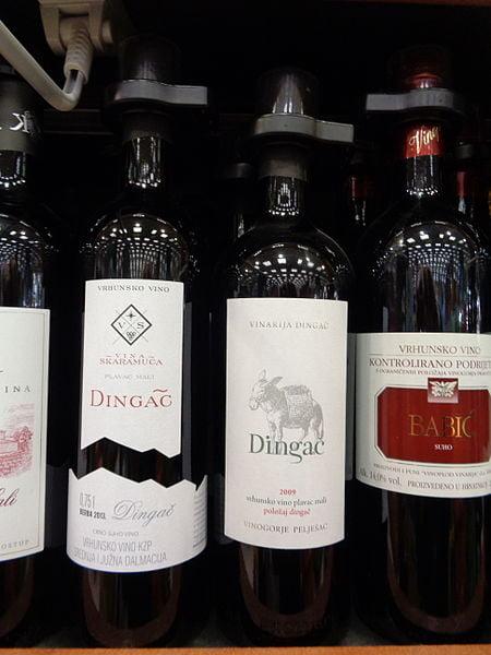 Bottles of Dingač, a popular type of Croatian wine - photo by Silverije under CC-BY-SA-4.0