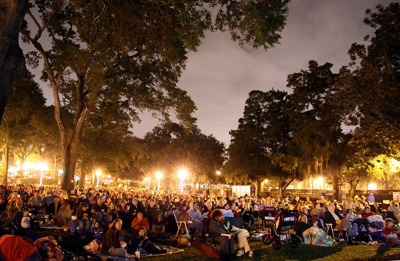 outdoor movies in the park - photo by Chad Miller under CC BY-SA 2.0