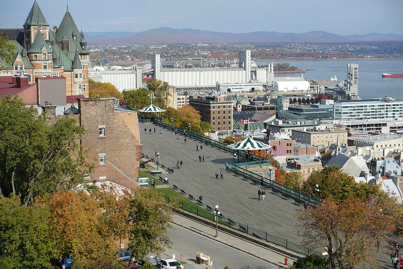 Dufferin Terrace viewed from the Citadel in Québec City - photo by Guilhem Vellut under CC BY 2.0