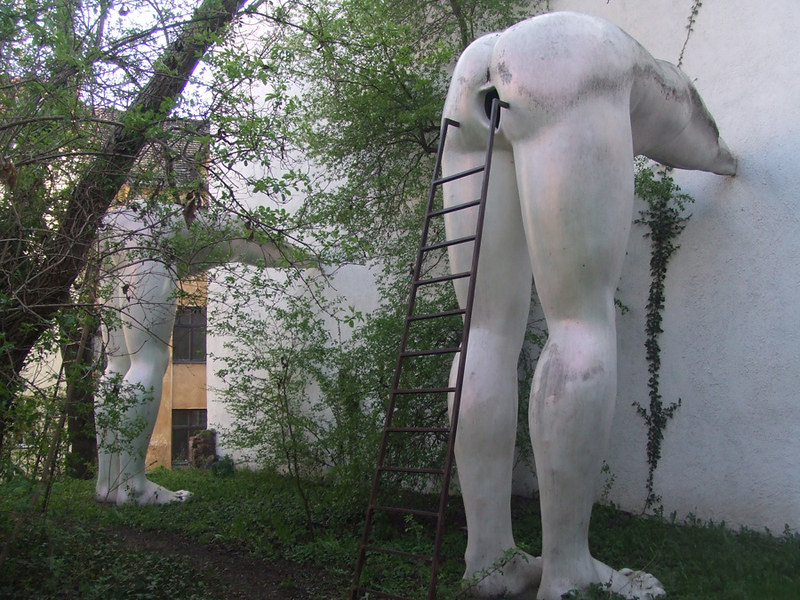 sculptures outside Futura Gallery in Prague - photo by Graham C99 under CC BY-SA 2.0