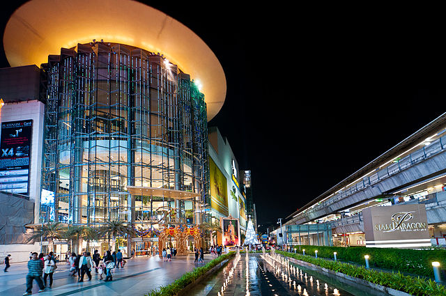 The Siam Paragon shopping center and adjacent Siam BTS SkyTrain station - photo by Mark Fischer under CC-BY-SA-3.0