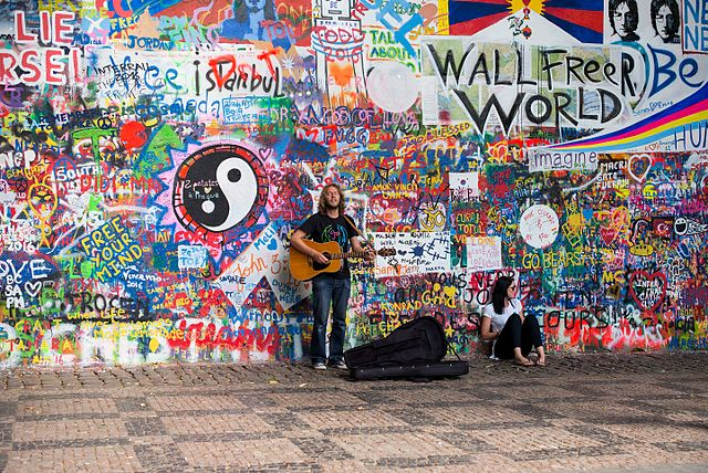 free things to do in Prague - Lennon Wall - photo by Roman Boed under CC-BY-2.0