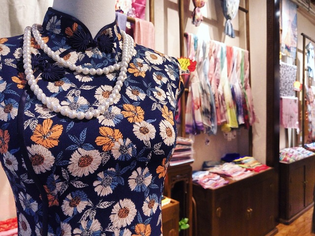 a cheongsam (also qipao) displayed in a Tianzifang shop - photo by Max Pixel under CC0 Public Domain