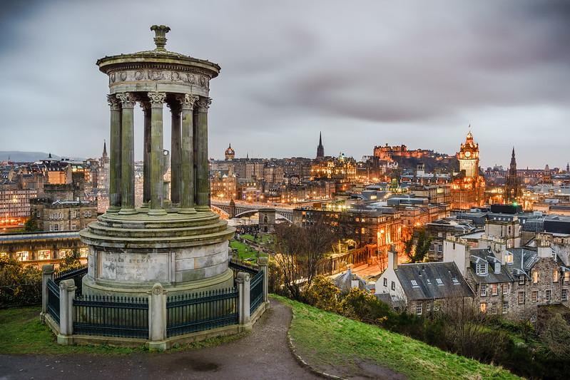 view of Edinburgh from Calton Hill - photo by Giuseppe Milo under CC BY 2.0