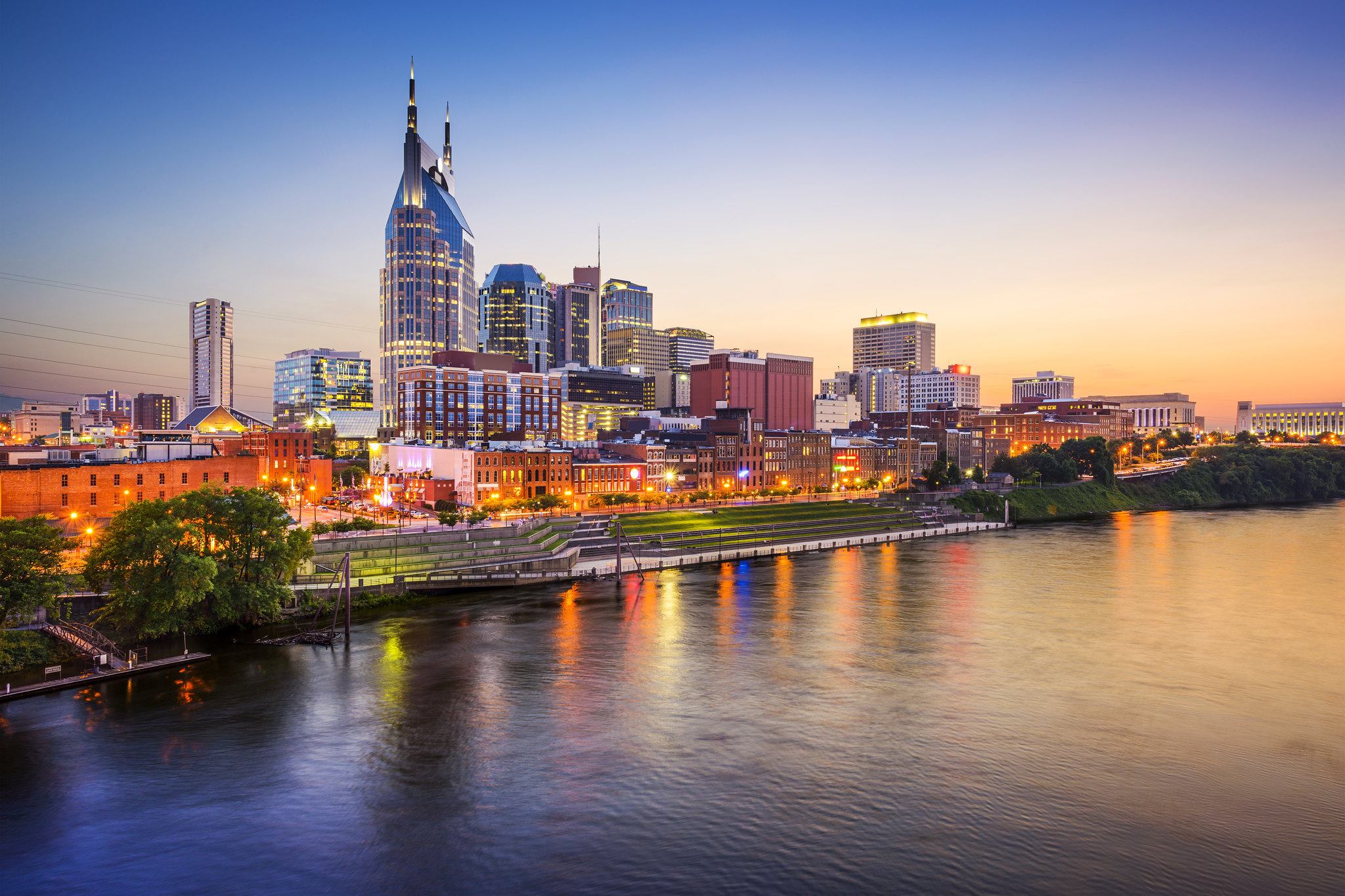 Nashville, Tennessee, USA downtown skyline on the Cumberland River - photo by Derrick Brutel under CC BY-SA 2.0
