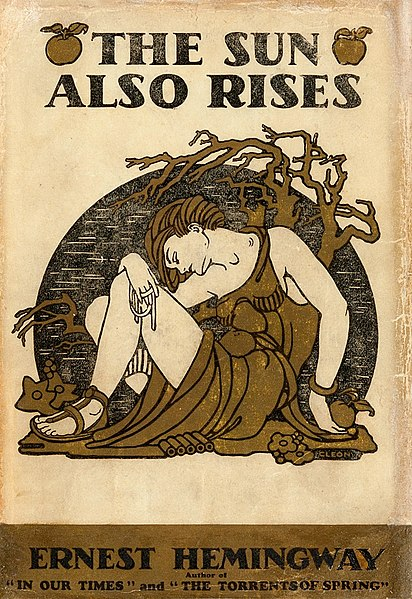 First-edition dust jacket cover of The Sun Also Rises (1926) - photo by Jacket design by Cleonike Damianakes. under PD US no notice-old-30
