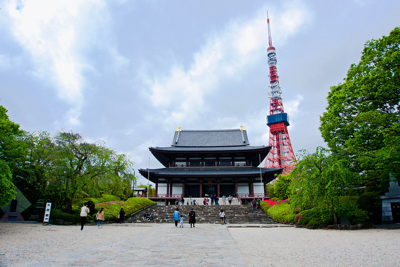 Zōjō-ji with the Tokyo Tower in the background - photo by Natalie Maguire under CC BY-SA 2.0