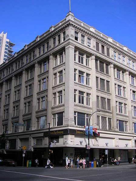 The Bay department store at the corner of Granville & West Georgia Streets - photo by Mike from Vancouver, Canada under CC-BY-2.0