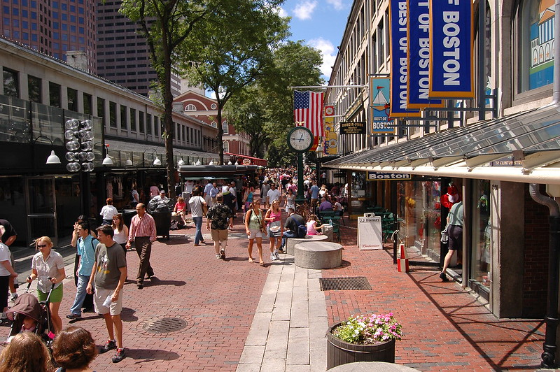 Quincy/North/South Market buildings of Faneuil Hall Marketplace - photo by 6SN7 under CC BY 2.0