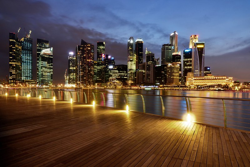Singapore CBD at dusk, viewed from the Marina Bay Waterfront Promenade - photo by Nicolas Lannuzel under CC BY-SA 2.0
