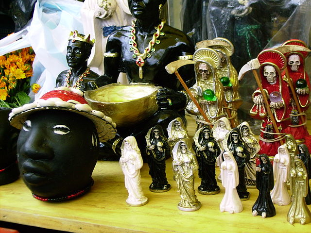 occult pieces on display at Mercado de Sonora in Mexico City - photo by Maurice Marcellin under CC BY-SA 3.0, 2.5, 2.0, 1.0
