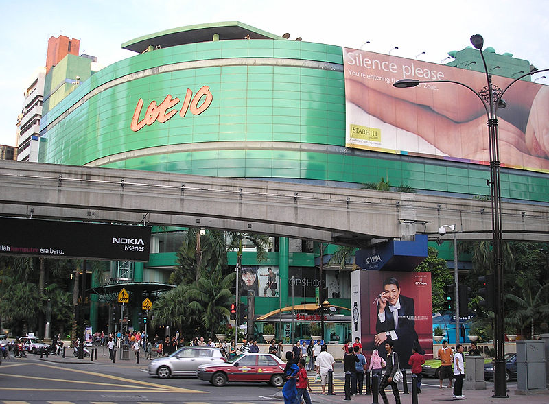 best shopping in Kuala Lumpur - Lot 10 shopping mall in Bukit Bintang, Kuala Lumpur - photo by User:Two hundred percent. under GFDL and CC-BY-SA-3.0,2.5,2.0,1.0