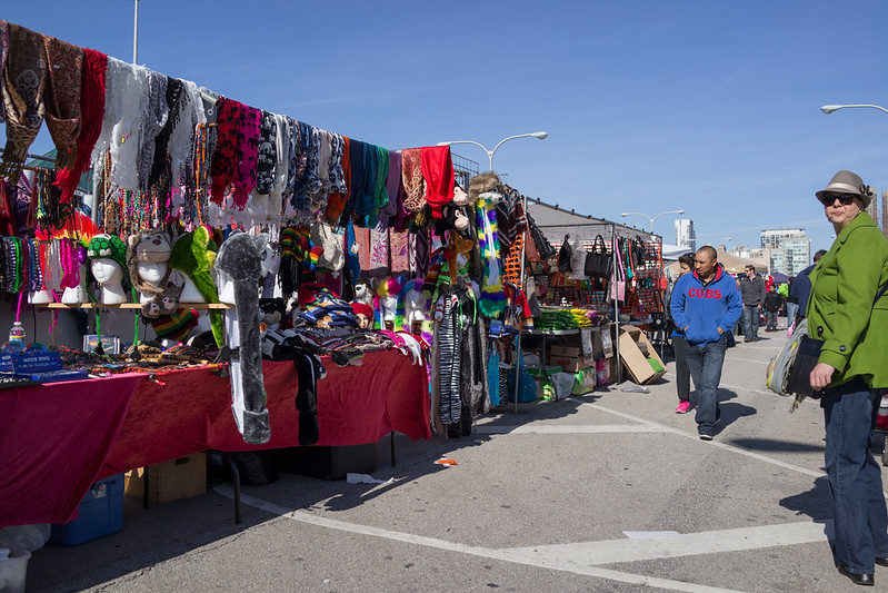 Some of the stalls at Maxwell Street Market - photo by Edsel Little under CC BY-SA 2.0