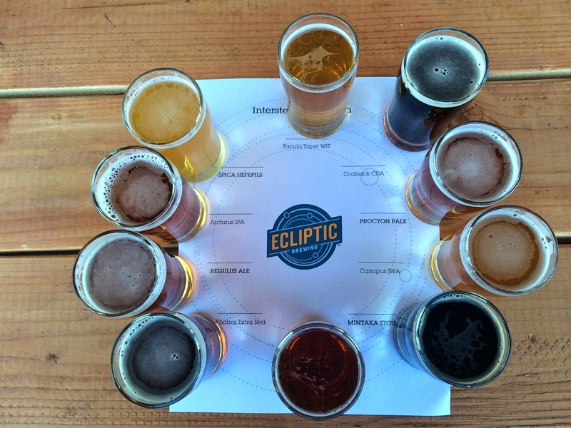 Ecliptic Brewing Samples - photo by Bjorn under CC BY-SA 2.0