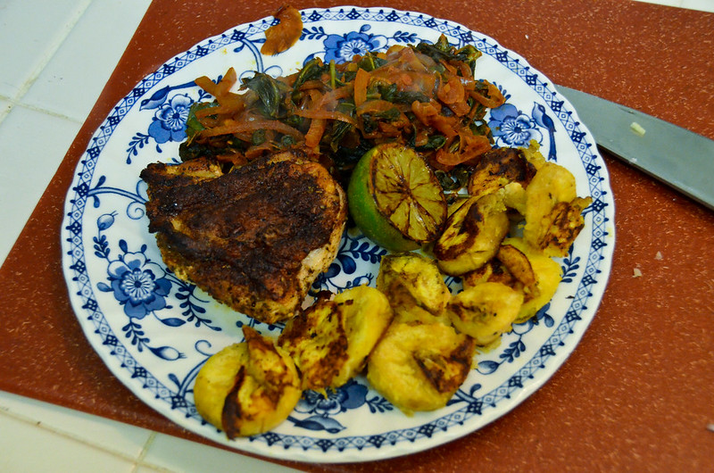 Anthony Bourdain Jamaica - Jamaican Jerk Chicken and Maduros with Stewed Collard Greens and Charred Lime - photo by sk under CC BY-ND 2.0