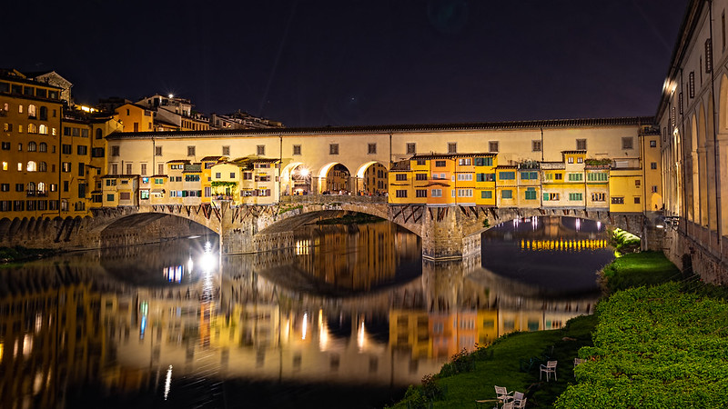 Ponte Vecchio and its shops at night - photo by Miguel Mendez under CC BY 2.0