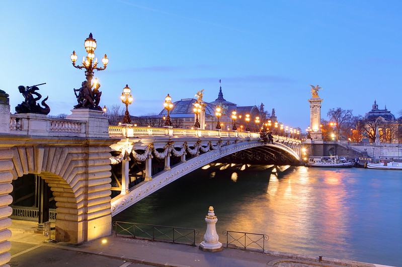 Pont Alexandre III at dusk - photo by Derrick Brutel under CC BY-SA 2.0