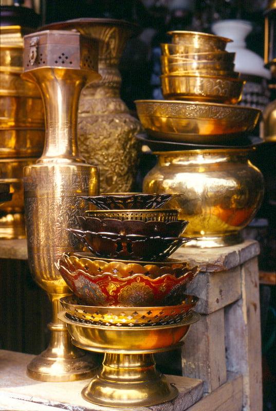 Polished brassware on display at one of the kiosks at Jalan Surabaya Flea Market - photo by Danumurthi Mahendra under CC BY 2.0