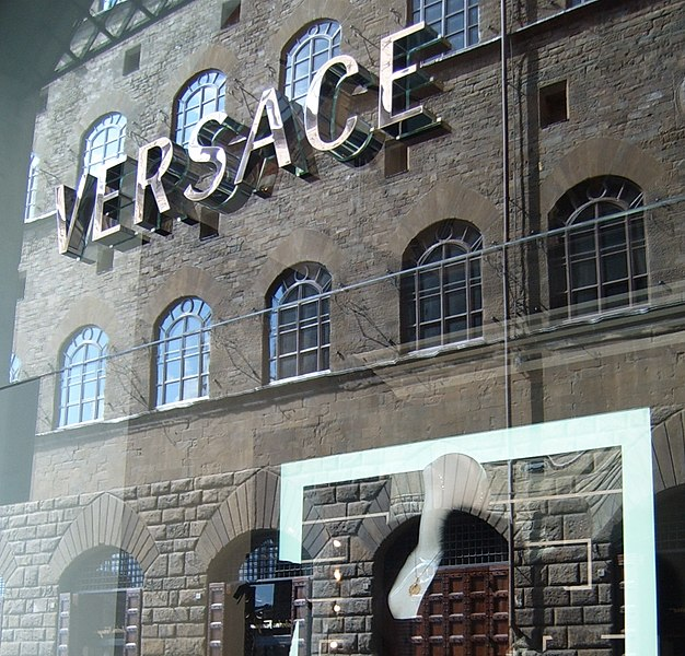 best shopping in Florence - Versace shop window on Via Tornabuoni in Florence - photo by Markus Bernet under CC-BY-SA-2.5