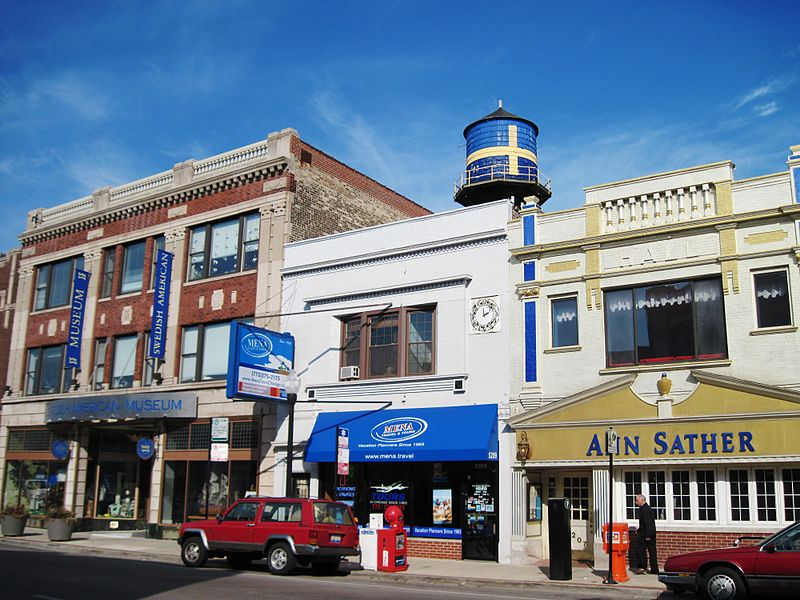 Some of the commercial establishments in Andersonville - photo by Zagalejo under PD-self