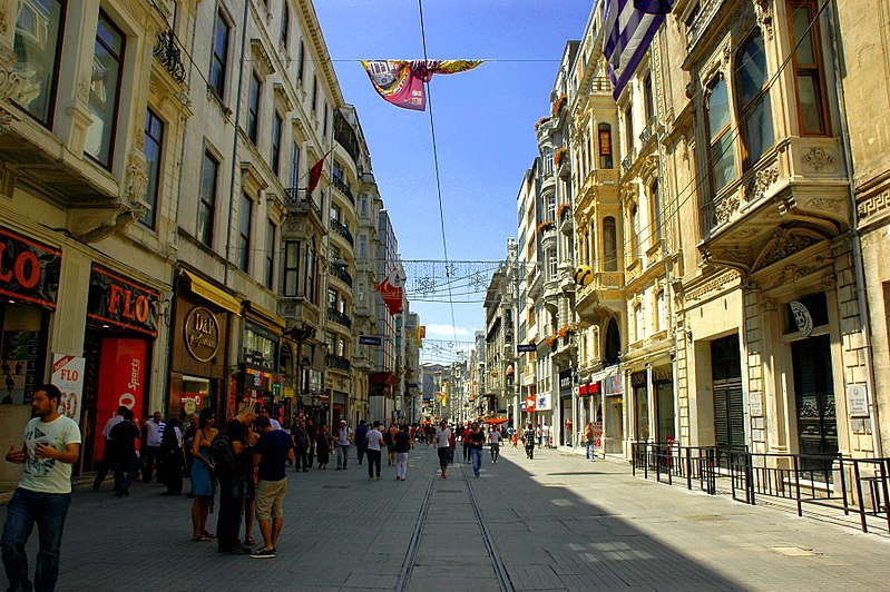 Along a portion of İstiklal Caddesi - photo by G Da under CC-BY-SA-3.0