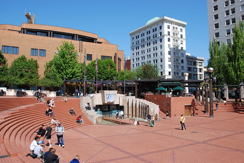 West half of the Pioneer Courthouse Square - photo by Steve Morgan under CC-BY-SA-3.0 and GFDL