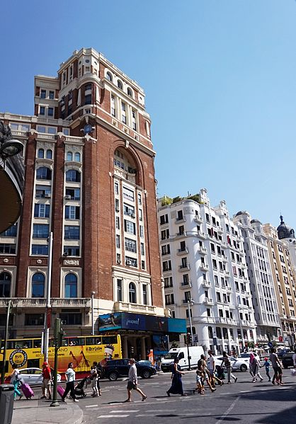 best shopping in Madrid - Calle Gran Via in Madrid, Spain - photo by Tiia Monto under CC-BY-SA-3.0