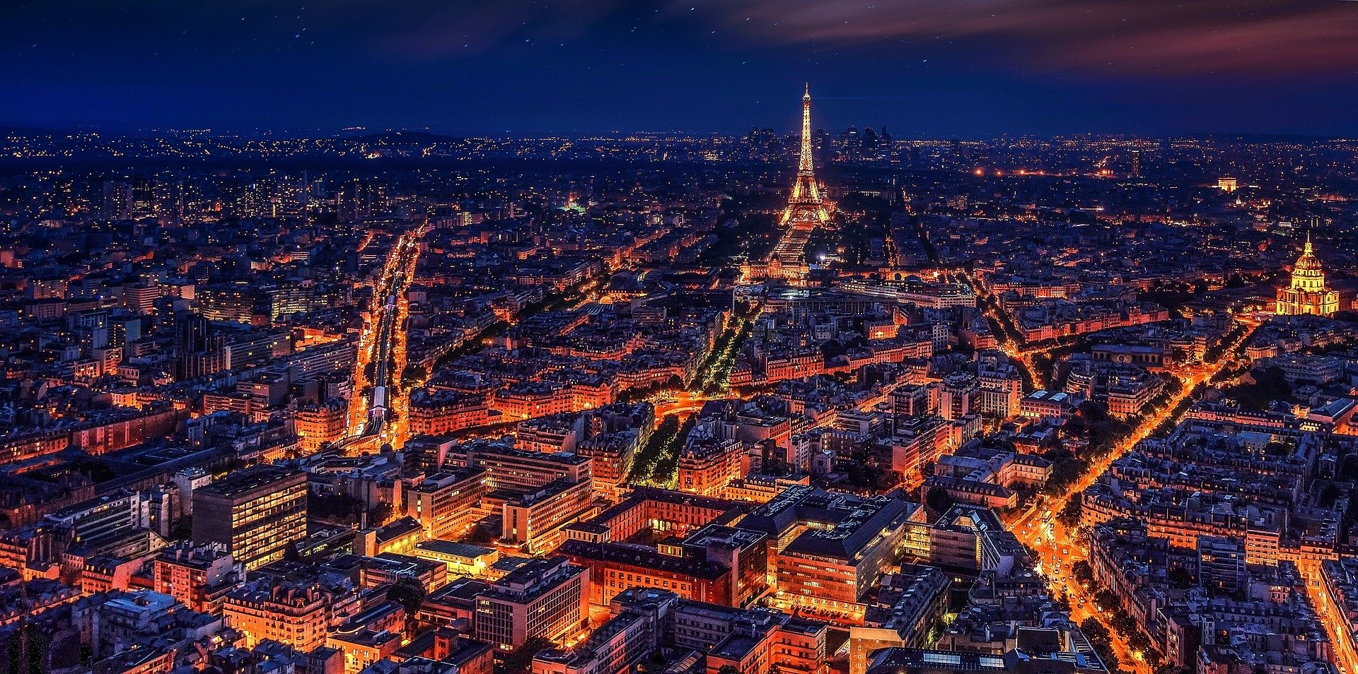 Paris, France at night - photo by Walkerssk under Pixabay License