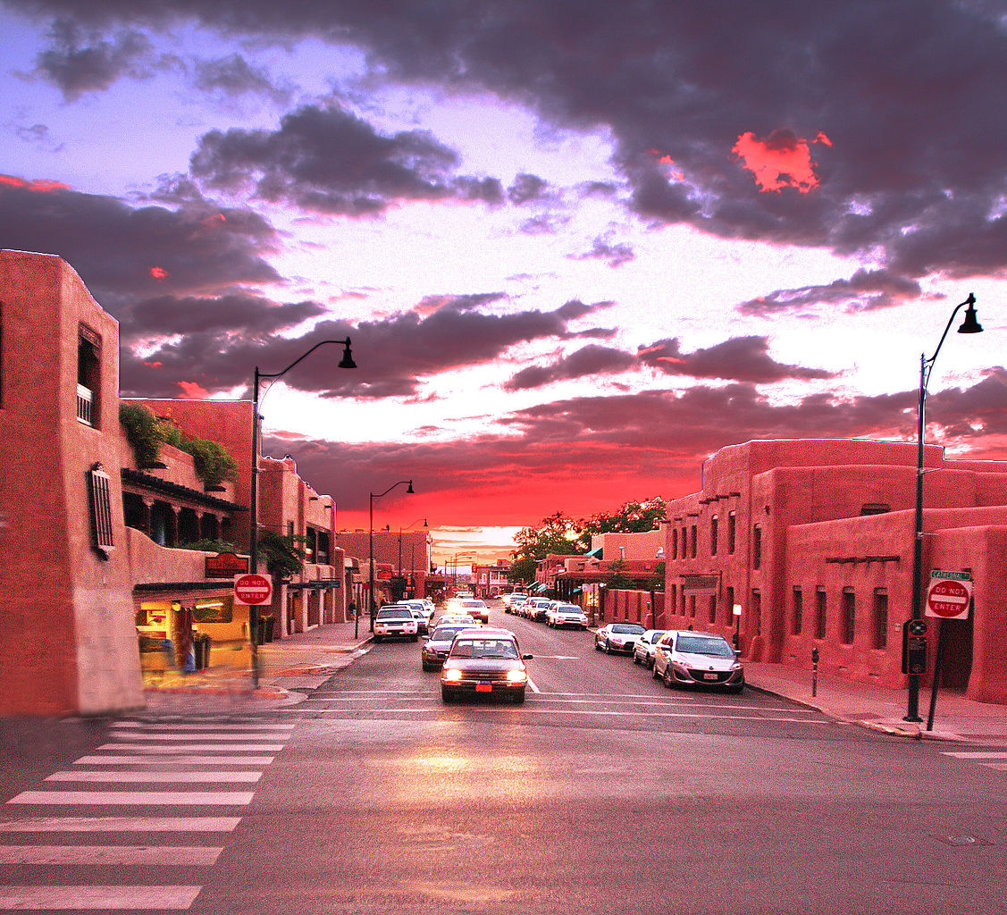 Downtown Santa Fe, New Mexico - photo by Rennett Stowe from USA under CC-BY-2.0