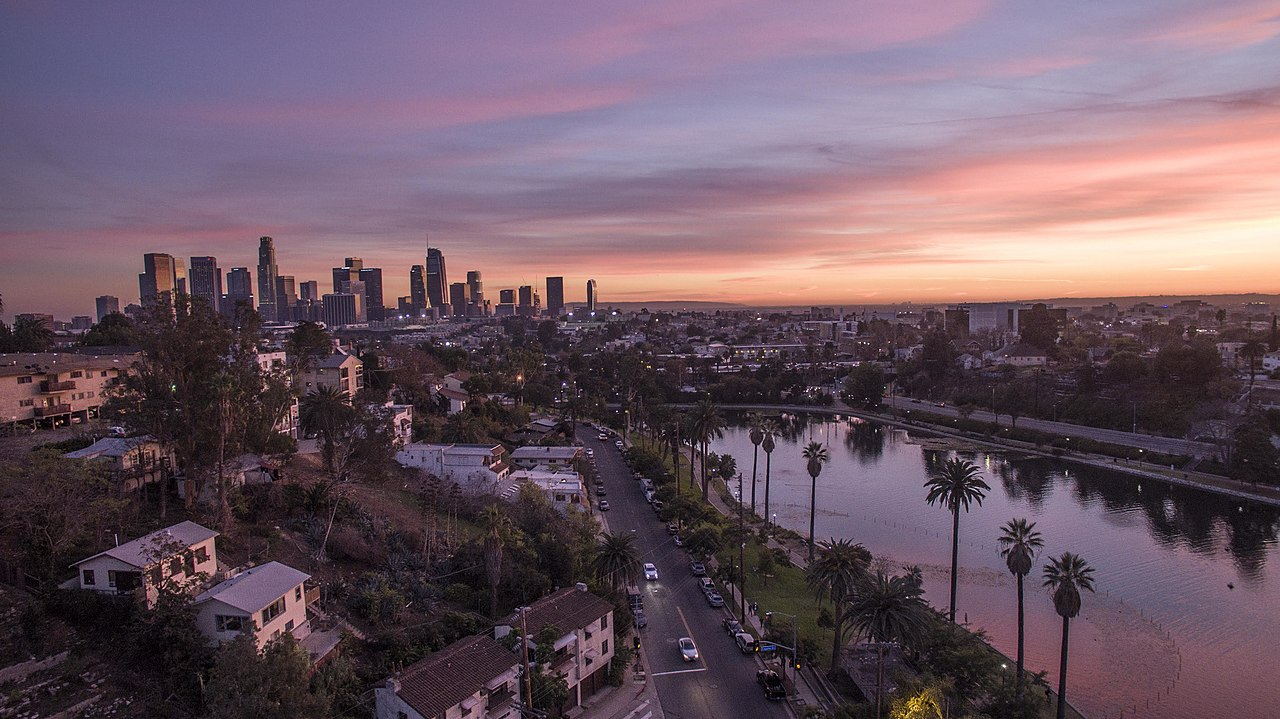 Echo Park Lake with Downtown Los Angeles Skyline - photo by Adoramassey under CC BY-SA 4.0