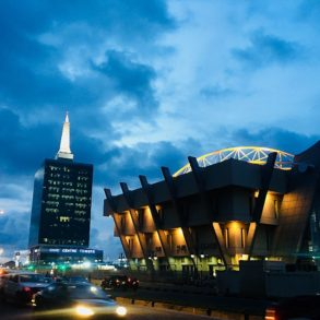Civic Centre at night, Lagos, Nigeria - photo by Ade Marquis under CC-BY-SA-4.0