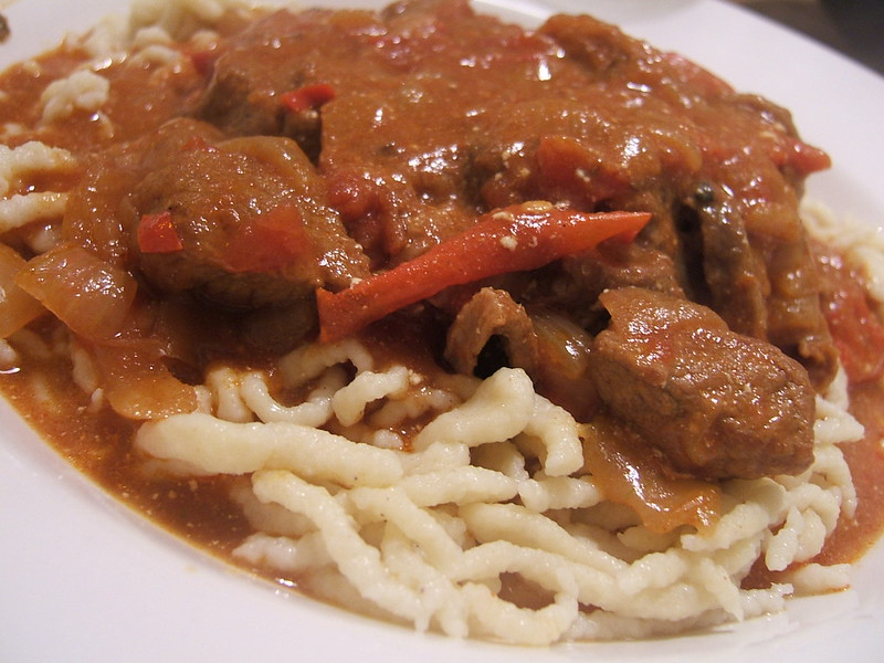 Spicy Pork Goulash on Spätzle - photo by WordRidden under CC BY 2.0