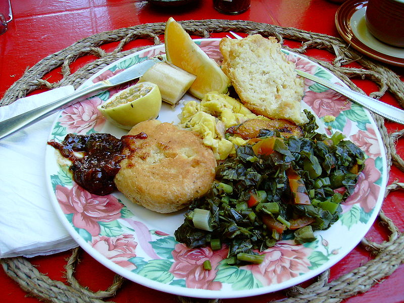 Anthony Bourdain London - Jamaican Breakfast with Saltfish Callaloo and Ackee - photo by Karolyn under CC-BY-3.0