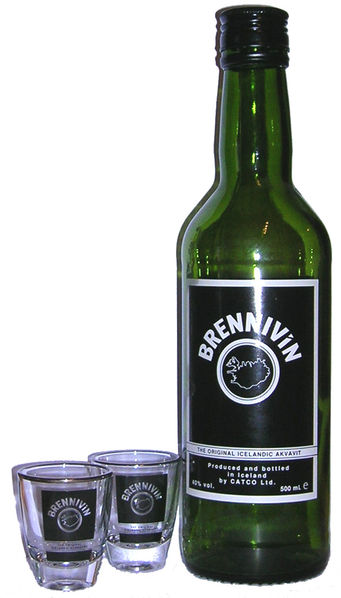 Anthony Bourdain Iceland - Brennivin is an icelandic alcoholic beverage - photo by Paglop~commonswiki  under GFDL, CC-BY-SA-3.0-migrated and CC-BY-2.5